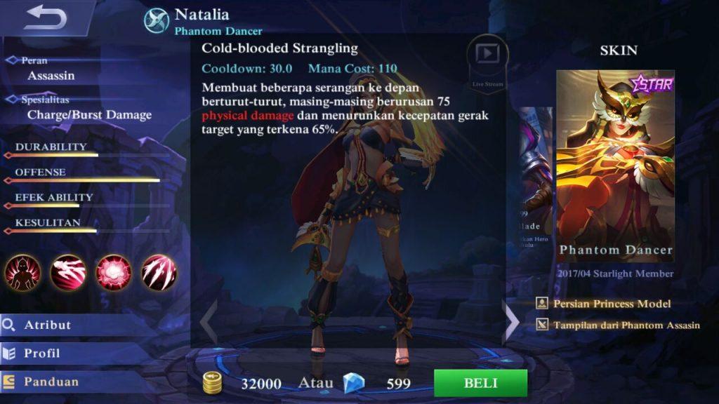 Natalia, Jenis Hero Dalam Game Mobile Legends
