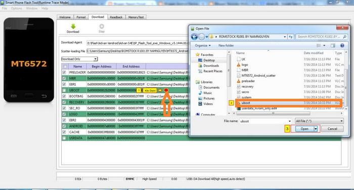 Cara isi file UBOOT dan USER DATA si SP Flash Tool