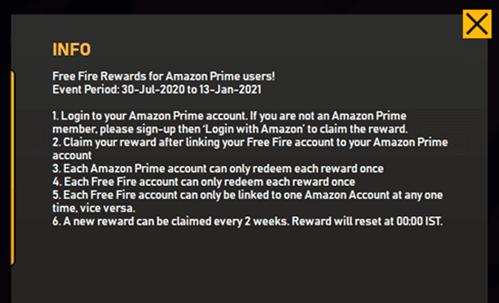 Login Amazon Prime Event Garena Free Fire Prime