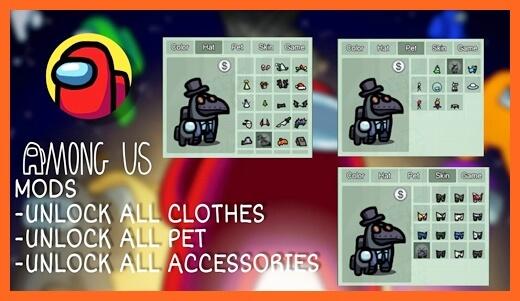 Hack Mod Among Us Baju dan Pet Apk All Unlocked Skin
